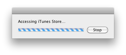 Accessing iTunes Store... progress dialog